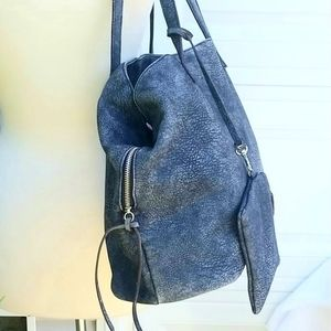Free People Bags - Free People Large Blue Distres Leather Slouchy Bag
